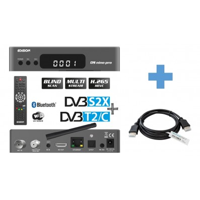 EDISION OS NINO PRO Full HD Linux E2 Combo-Receiver H.265/HEVC Grau 1,5 m TechnikRat HDMI Kabel