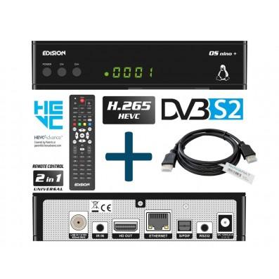 Edision OS NINO+ DVB-S2 Linux Receiver inkl. 1,5 m HDMI Kabel