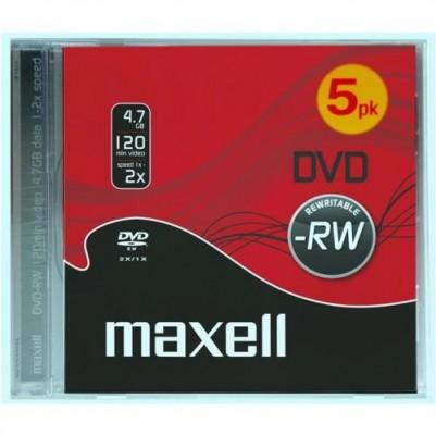 MAXELL DVD-RW 4.7GB überschreibbar 2x speed 5er Jewelcase