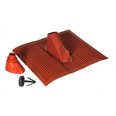 A.S.SAT Alu-Dachziegel-Dichtungsset für Masten von Ø 42 - 60mm ziegelrot mit Kabeldurchführung