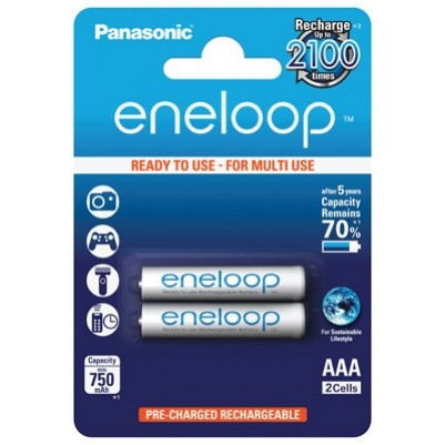 Panasonic eneloop Akku AAA Micro LR03 NiMH vorgeladen für DECT 750mAh im 2er Blister