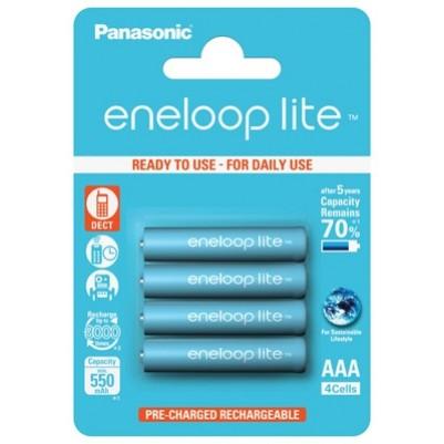 Panasonic eneloop lite Akku AAA Micro LR03 NiMH vorgeladen für DECT 600mAh im 4er Blister