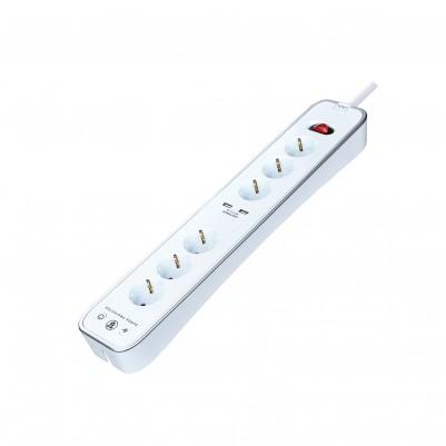 Masterplug Steckdosenleiste 6-fach mit 2 x USB Überspannungsschutz weiss