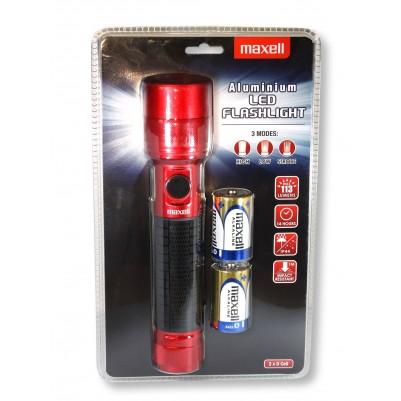 MAXELL ALU-LED-Taschenlampe 113 Lumen IP44 mit Strobo inkl. 2x D Batterie rot
