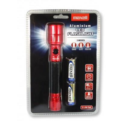 MAXELL ALU-LED-Taschenlampe 94 Lumen IP44 mit Strobo inkl. 2x AA rot