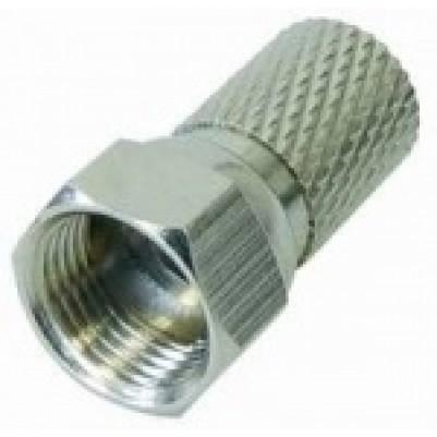 F-Schraubstecker für 7mm Koaxialkabel, Messing vernickelt