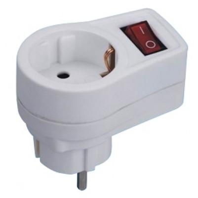 Schutzkontakt-Adapter mit Schalter, weiß