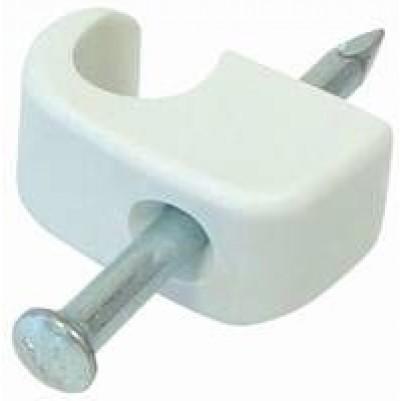 Nagel-Clip aus Nylon für 5-7mm Koaxkabel mit Stahlnagel 100Stück