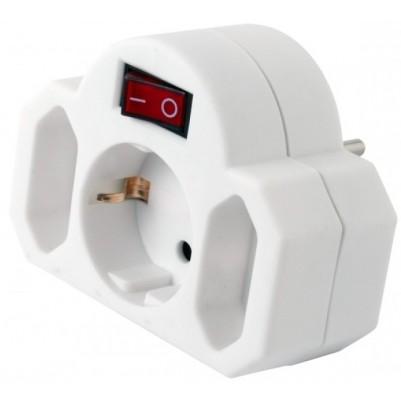 Multistecker 2+1 mit Schalter, weiß