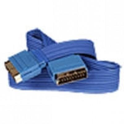 Scartflachband Stecker/Stecker 0,5m vergoldet 21polig blau