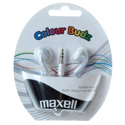 MAXELL Colour Budz Stereo Ohrhörer weiß Smaertphone Klinke 3,5mm