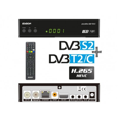 Edision Piccollino 3in1 LED HEVC Full HD Receiver für DVB-S2 + DVB-T2/C