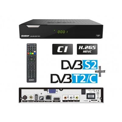 Edision Piccollo 3in1 HEVC, DVB-S2 + DVB-T2/C Receiver, Full HD, CI, CA, LAN, S/PDIF, RCA, RS232, 2xUSB, LED Display, Internet