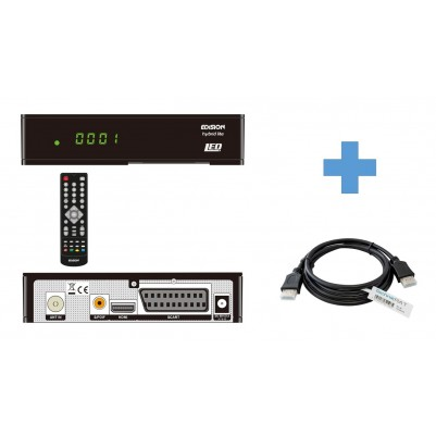 Edision Progressiv Hybrid lite LED DVB-C Kabelreceiver inkl. 1,5 m HDMI Kabel mit LED Display HDMI & SCART