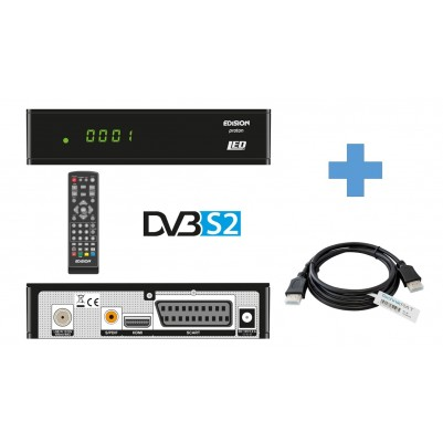 Edision Proton LED DVB-S2 Sat-Receiver inkl. 1,5 m HDMI Kabel USB & LED- Display SCART