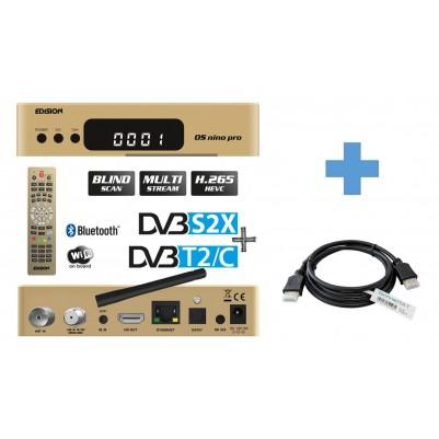 EDISION OS NINO PRO Full HD Linux E2 Combo-Receiver H.265/HEVC Gold 1,5 m TechnikRat HDMI Kabel