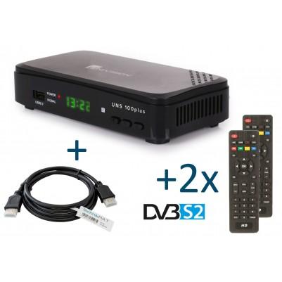 UNS100+ DVB-S2 Full HD SAT-Receiver inkl. 1,5 m HDMI Kabel / 2. Fernbedienung