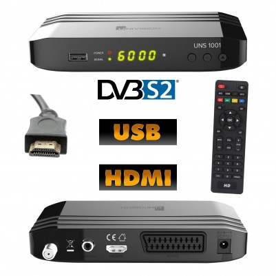 UNIVISION UNS1001 DVB-S2 Full HD-Receiver inkl. 1,5 m HDMI Kabel
