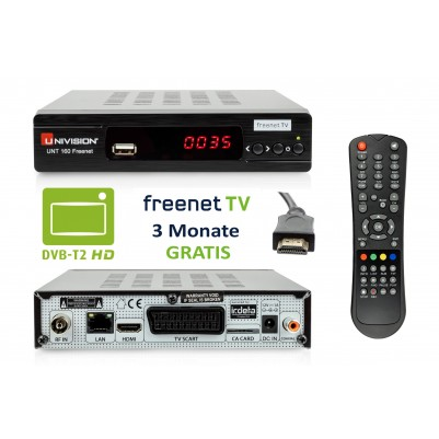 Univision UNT160 HD DVB-T2 Freenet Receiver + HDMI Kabel