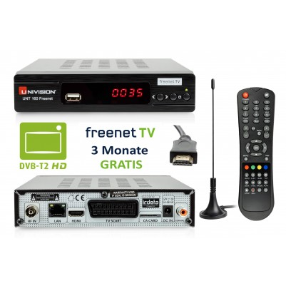 Univision UNT160 HD DVB-T2 Freenet Receiver inkl. Set Antenne + HDMI Kabel