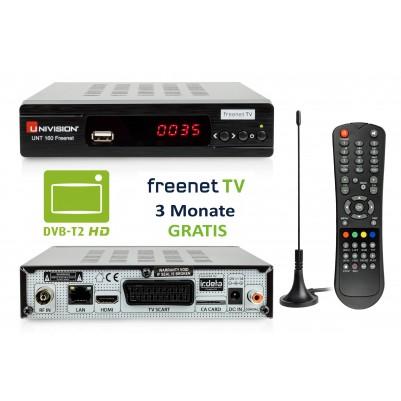 Univision UNT160 HD DVB-T2 Freenet Receiver + Zmmerantenne