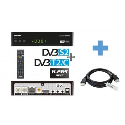 Edision Piccollino 3in1 LED HEVC, Full HD Receiver für DVB-S2 + DVB-T2/C mit 1,5 m TechnikRat HDMI Kabel
