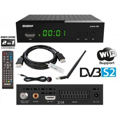 Edision PROTON S2 Sat HD Receiver inkl. HDMI Kabel & WLAN Antenne