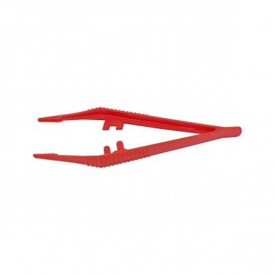 Bernstein Kunstoffpinzette rot mit innenverzahnter Spitze