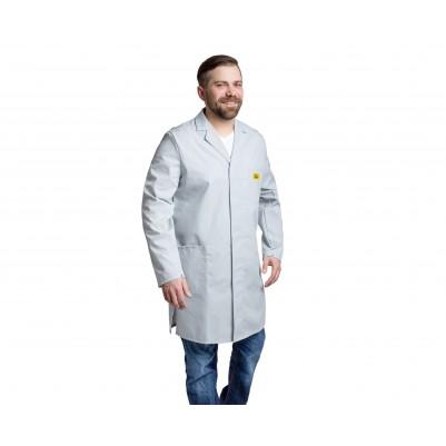 ESD- Herrenarbeitskittel ¾ lang hellgrau Größe: XL
