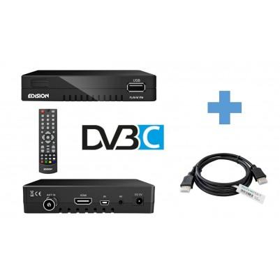 Edision Progressiv Hybrid lite DVB-C Kabelreceiver inkl. 1,5 m HDMi Kabel