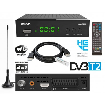 Edision PICCO T265 DVB-T2 Receiver inkl. HDMI Kabel & Antenne
