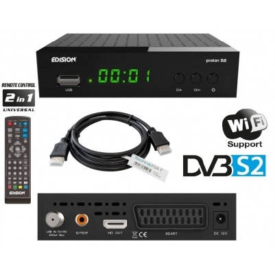 Edision PROTON S2 Sat HD Receiver inkl. HDMI Kabel