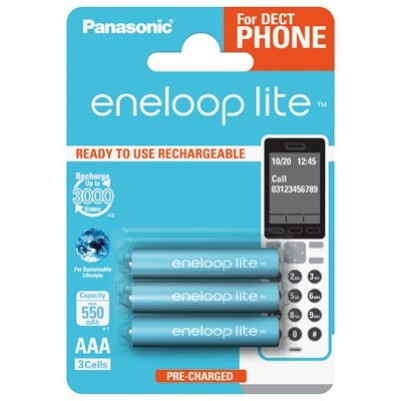 Panasonic eneloop lite Akku AAA Micro LR03 NiMH vorgeladen für DECT 600mAh im 3er Blister
