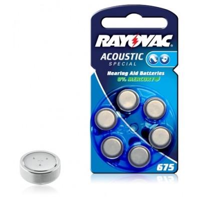 RAYOVAC Hörgerätebatterie 675 (PR44) 5,35x Ø11,6mm Zinc/Luft 1,4V/640mAh im 6er Blister