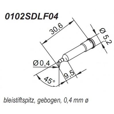 ERSA ERSADUR Lötspitze für i-Tool gebogen bleistiftspitz 0,4 mm