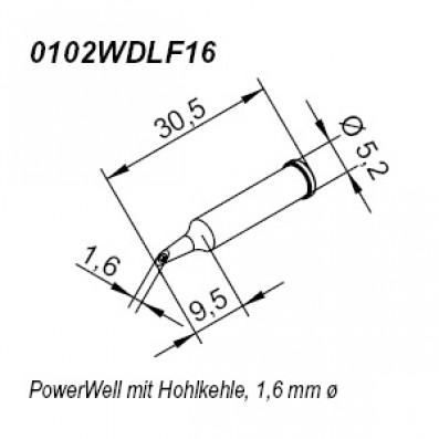 ERSA ERSADUR Lötspitze für i-Tool gerade PowerWell mit Hohlkehle 1,6 mm