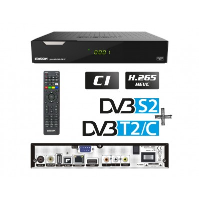 Edision Piccollo 3in1 HEVC, DVB-S2 + DVB-T2/C Receiver, Full HD, CI, CA, LAN, S/PDIF, RCA, RS232, 2xUSB, LED Display, Internet