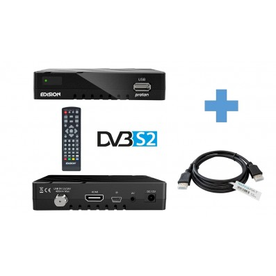 Edision Proton DVB-S2 Sat-Receiver inkl. 1,5 m HDMI Kabel & USB Anschluss