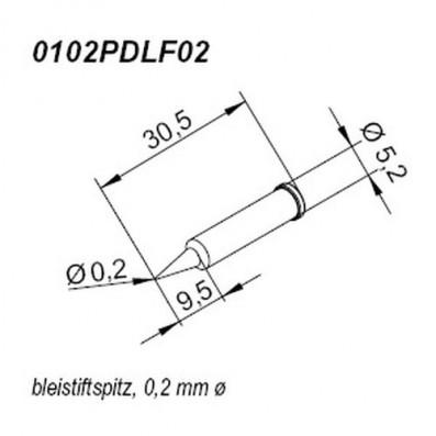 ERSA ERSADUR Lötspitze für i-Tool bleistiftspitz gerade 0,2 mm