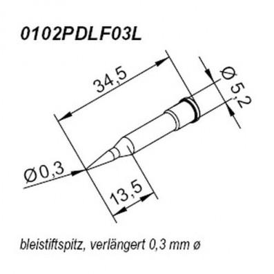 ERSA ERSADUR Lötspitze für i-CON gerade bleistiftspitz verlängert 0,3mm