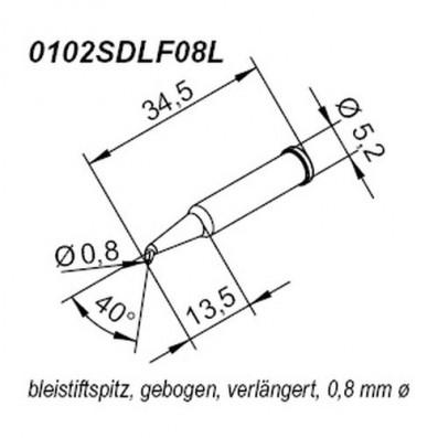 ERSA ERSADUR Lötspitze für i-Tool verlängert gebogen bleistiftspitz 0,8 mm