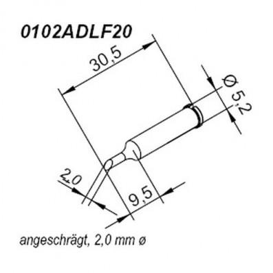 ERSA ERSADUR Lötspitze für i-Tool gerade angeschrägt 2,0 mm
