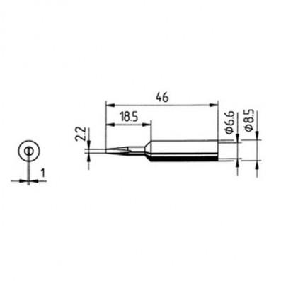 ERSA Lötspitze gerade meißelförmig 2,2 mm für RDS80/Analog 60/MULTI-TC