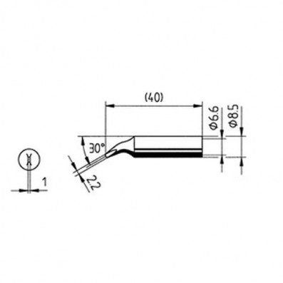 ERSA Lötspitze abgewinkelt meißelförmig 2,2 mm für RDS80/ANALOG60 uvm.