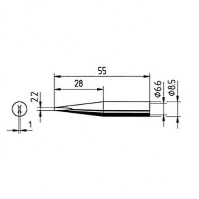 ERSA Lötspitze gerade verlängert meißelförmig 2,2 mm für RDS80/ANALOG60