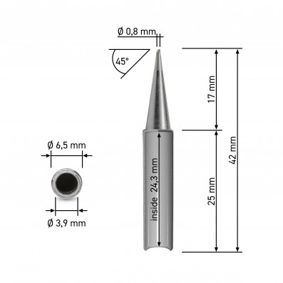Original Quick Dauerlötspitze angeschrägt 0,8mm für Lötstation 3103/3104/TS1100